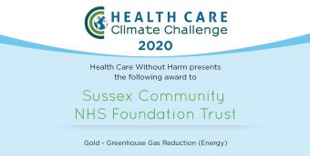 Healthcare Climate Challenge certificate from Health Care Without Harm for Sussex Community NHS