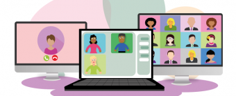 graphics of lots of people on computer screens having a virtual meeting