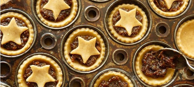 mince pies topped with a pastry star