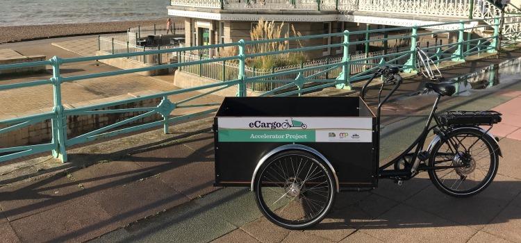 e-cargo bike on brighton seafront